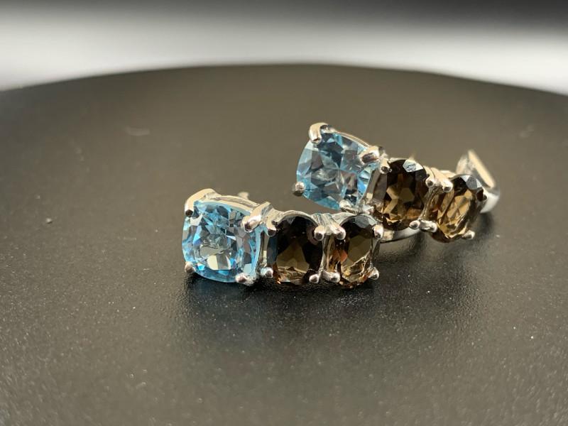 Smoky Quartz & Blue Topaz 28.45 Cts Silver Earrings
