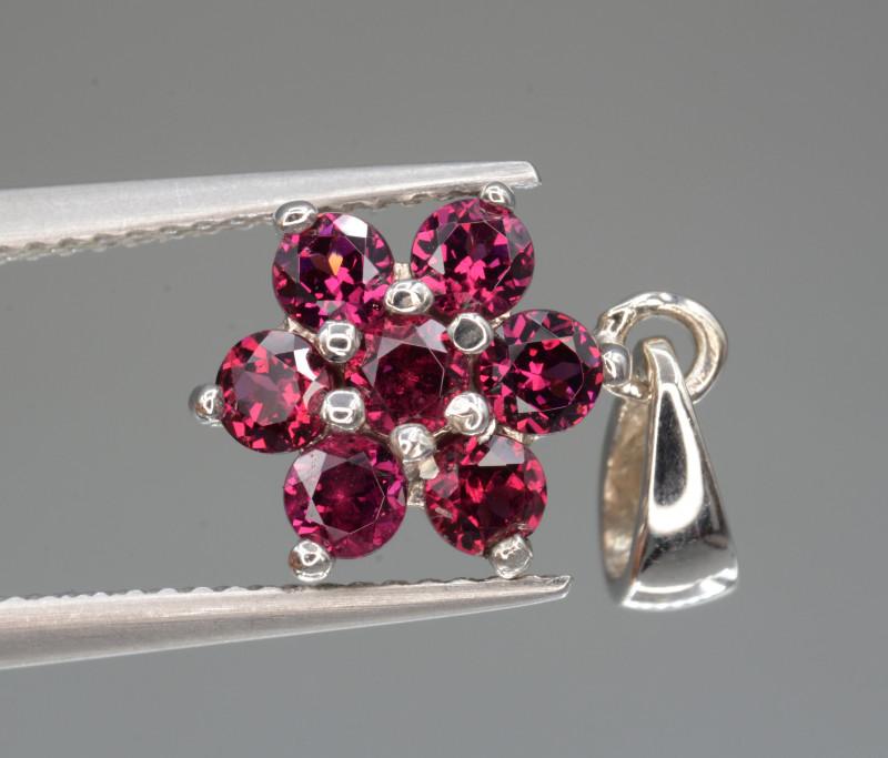 Natural Rhodolite Garnet Silver Pendant Unique Design