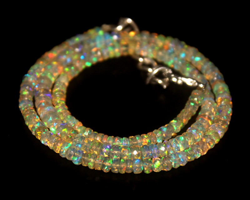 40.85 Crts Natural Welo Faceted Opal Beads Necklace 314