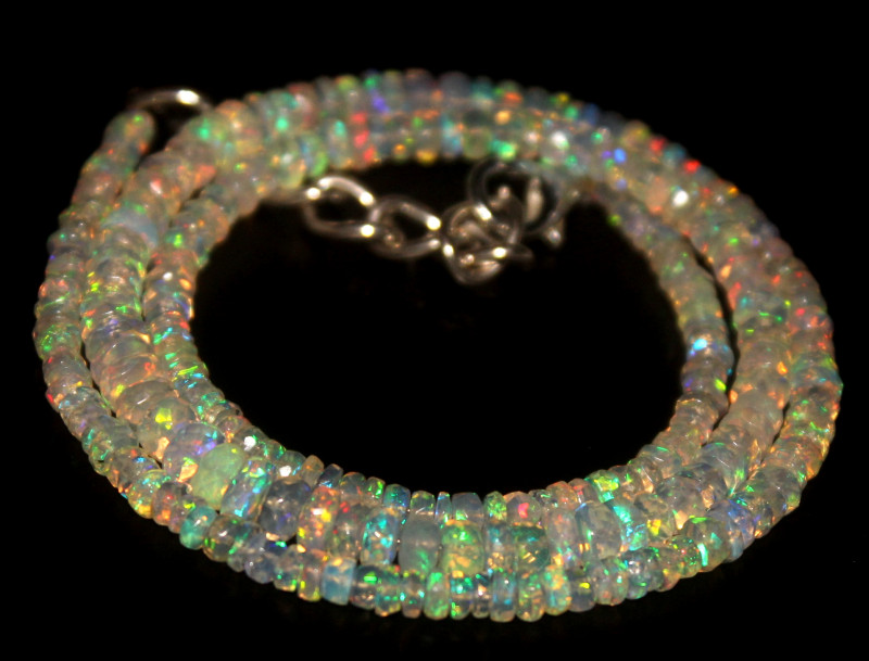 34.20 Crts Natural Welo Faceted Opal Beads Necklace 407