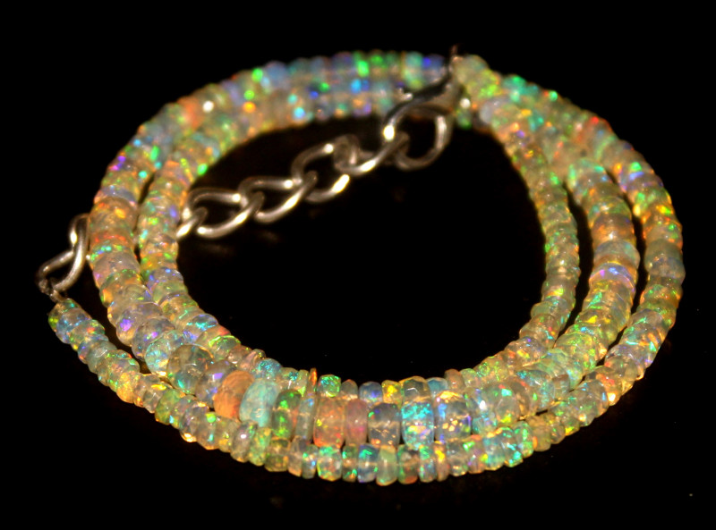 33.90 Crts Natural Welo Faceted Opal Beads Necklace 456