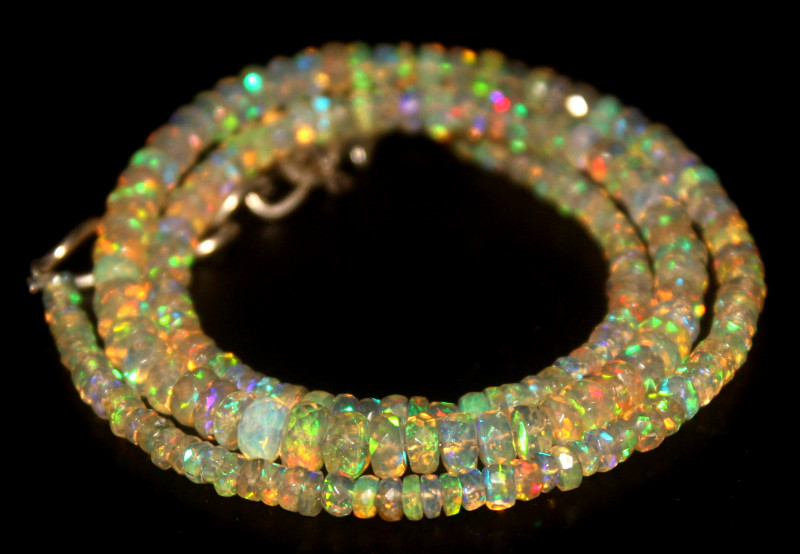 37.90 Crts Natural Welo Faceted Opal Beads Necklace 459