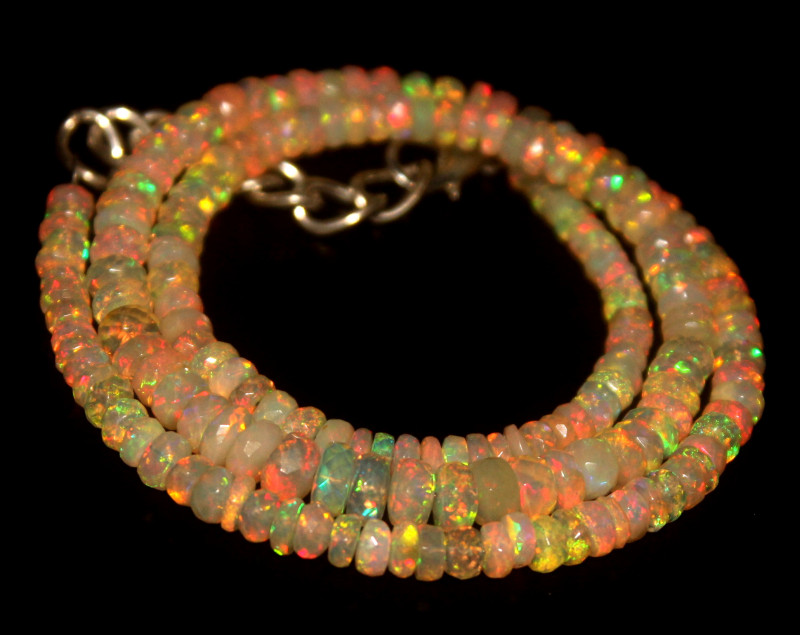 49.25 Crts Natural Welo Faceted Opal Beads Necklace 464