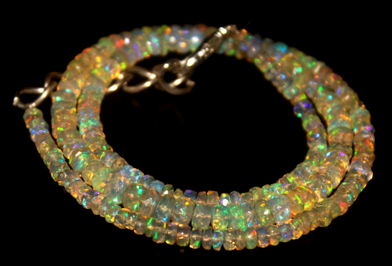 39 Crts Natural Welo Faceted Opal Beads Necklace 467
