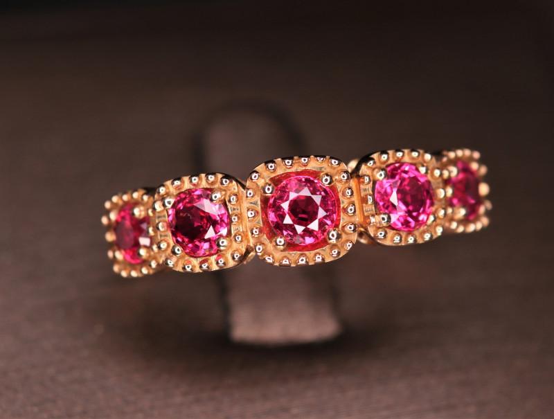 18 k Rose Gold Natural Burma Spinel Stylish Design Ring