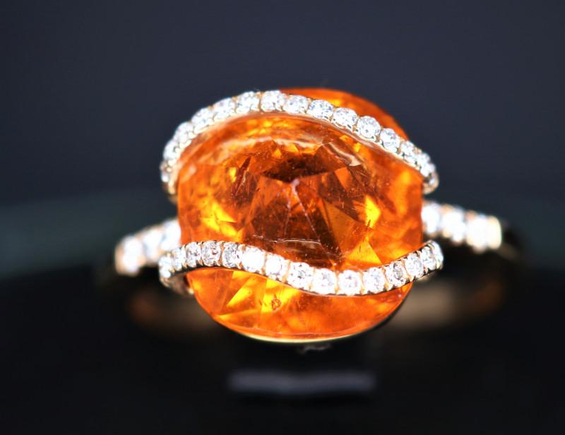 18 k Rose Gold Natural Orange Garnet & Diamond With Stylish Design Ring