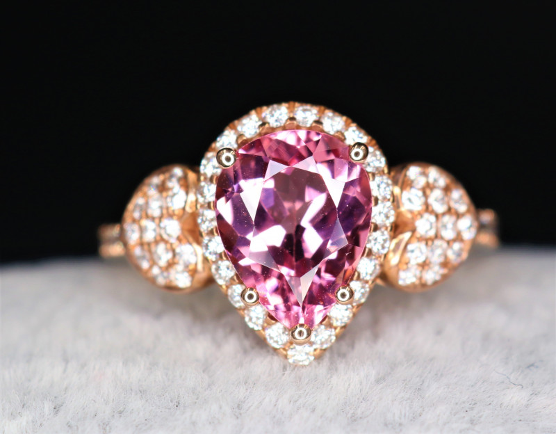 18 k Rose Gold Natural Pink Spinel & Diamond With Stylish Design Ring