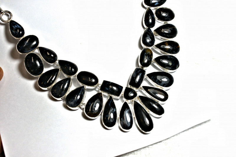 455.0 Tcw. African Pietersite, Sterling Silver Necklace - Gorgeous