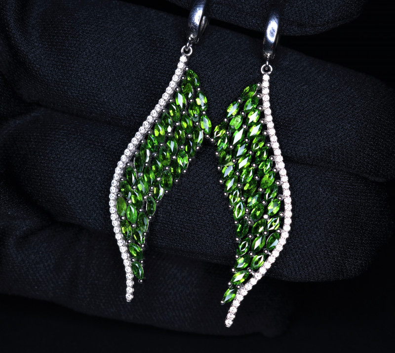 Gorgeous Natural Chrome Diopside, CZ & 925 Fancy Sterling Silver Earring
