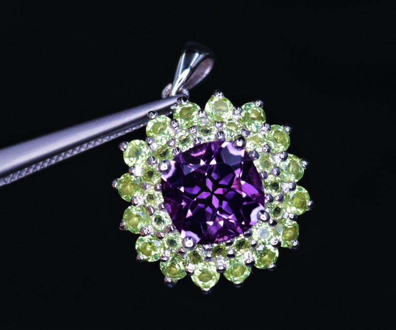 Gorgeous Natural Amethyst, Peridot  & 925 Fancy Sterling  Silver Pendant