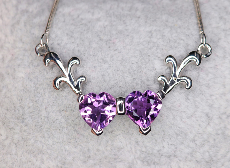Gorgeous Natural Amethyst & 925 Heart Shape Sterling  Fancy Silver Pendant