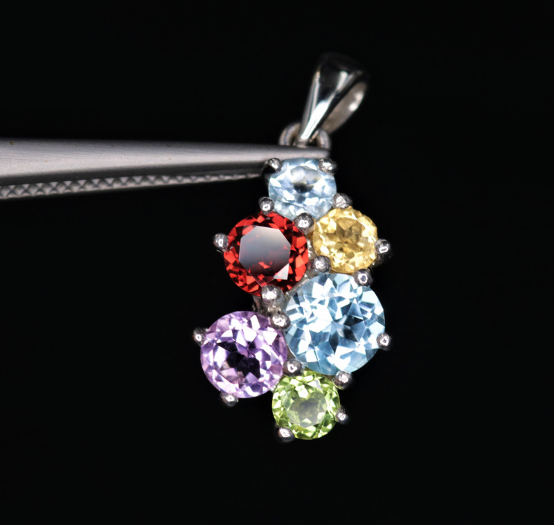 Gorgeous Natural Multi Stone & 925 Beautiful Sterling  Silver Pendant