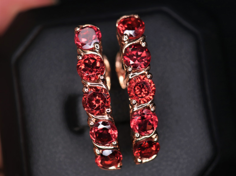 Gorgeous Natural Garnet  & 925 Rose Gold Stylish Sterling  Silver Earring
