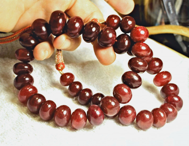 1197.0 Tcw. Indian Ruby Necklace - Gorgeous