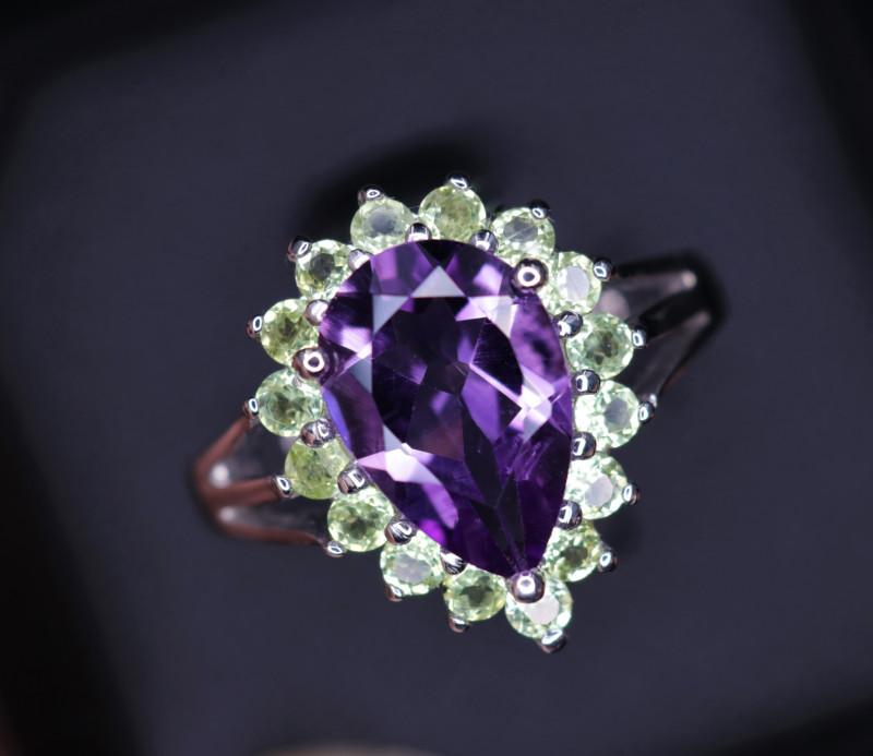 Fabulous Natural Amethyst, Peridot  & 925 Fancy Sterling  Silver Ring