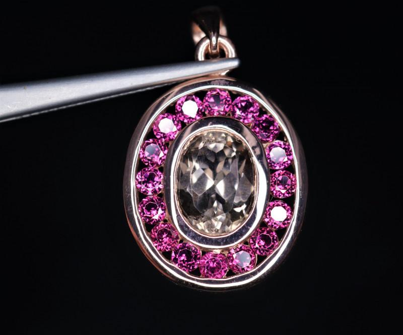 Gorgeous Natural Quartz,  Garnet & 925 Stylish Rose Gold Sterling  Silver P