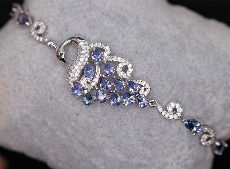 Gorgeous Natural Tanzanite, CZ & 925 Silver Fancy Stylish Design Bracelet