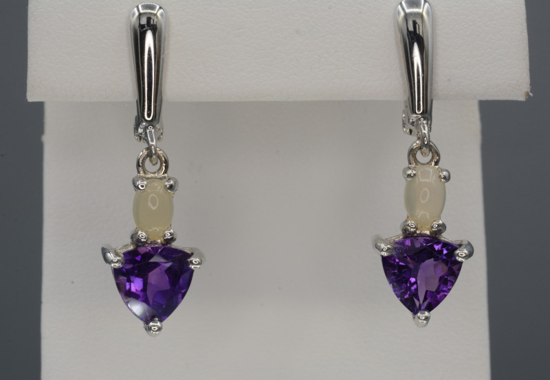 Multi Stones Natural Amethyst And Opal Silver Earrings 27.75 Cts