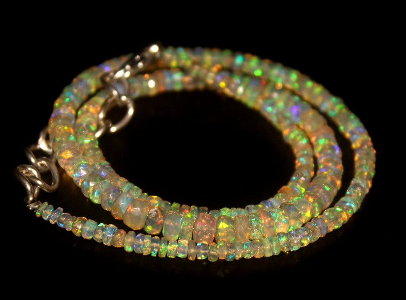 36.75 Crts Natural Welo Faceted Opal Beads Necklace 326