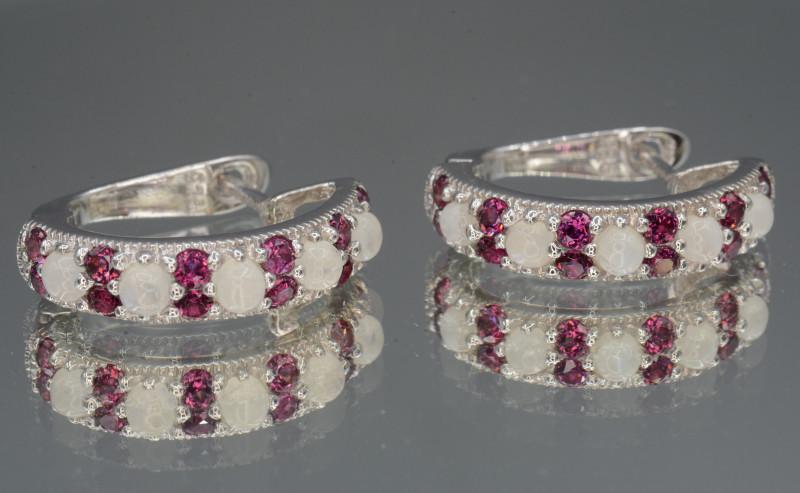 Natural Multi-stone Opal and Rhodolite Silver Earring Unique Design