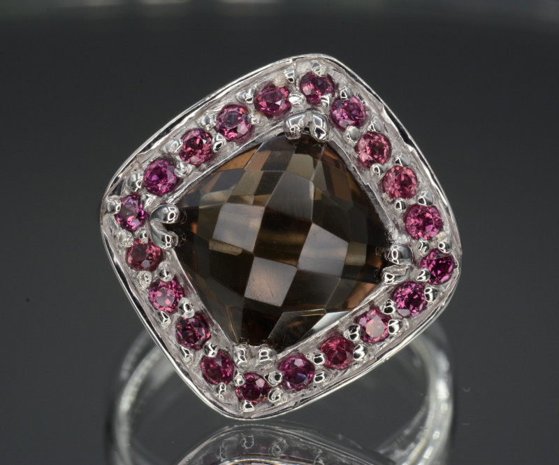 Natural Smoky Quartz and Rhodolite Silver Ring 29.84 Cts
