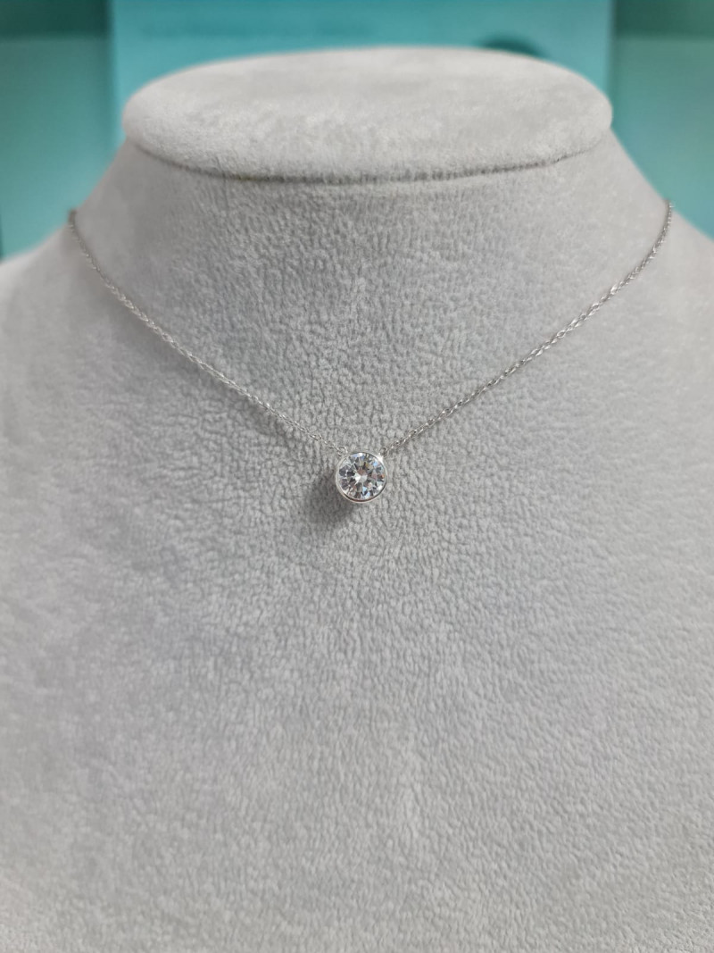 Natural White And Topaz ~ Silver Necklace