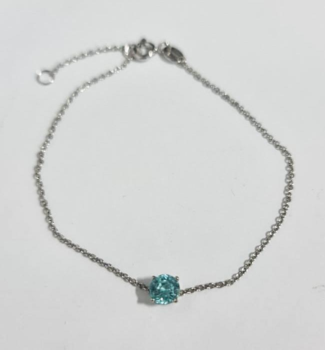 *NoReserve*Stylish Natural Blue Zircon 1.38 Cts Silver  Bracelet