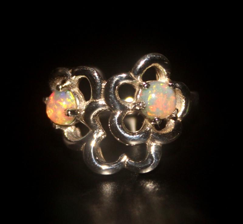 Ethiopian Fire Opal 925 Silver Ring Size US (6) 516