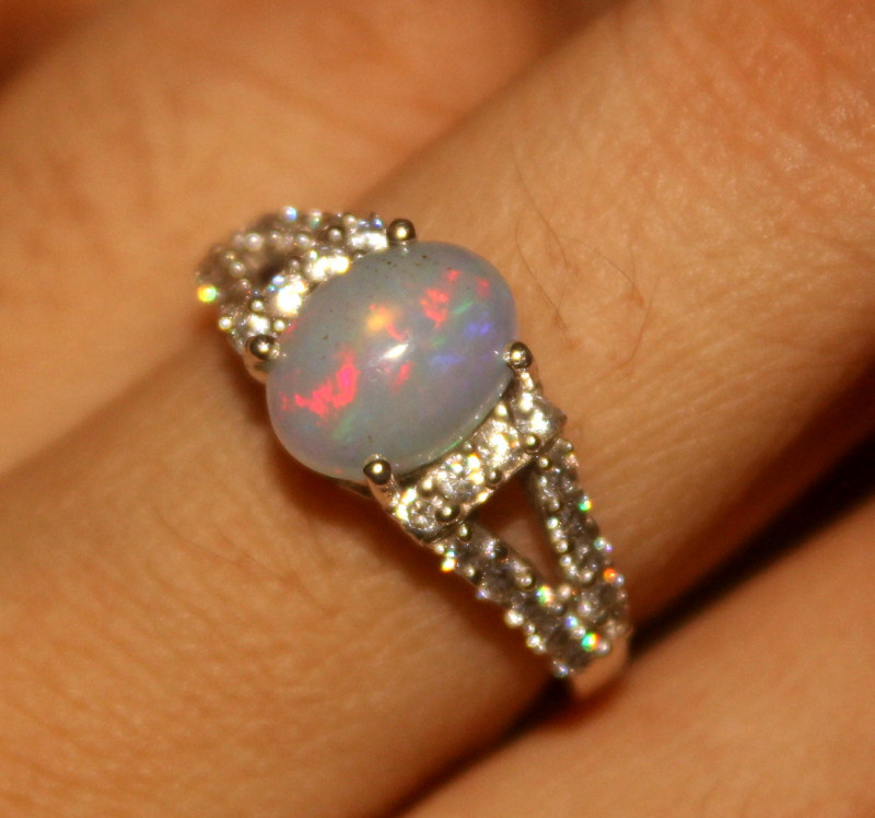 Ethiopian Fire Opal 925 Silver Ring Size US (6) 532