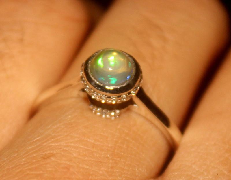 Ethiopian Fire Opal 925 Silver Ring Size US (9.5) 540