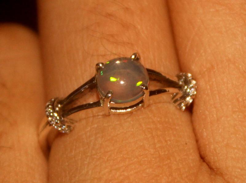 Ethiopian Fire Opal 925 Silver Ring Size US (6.5) 560