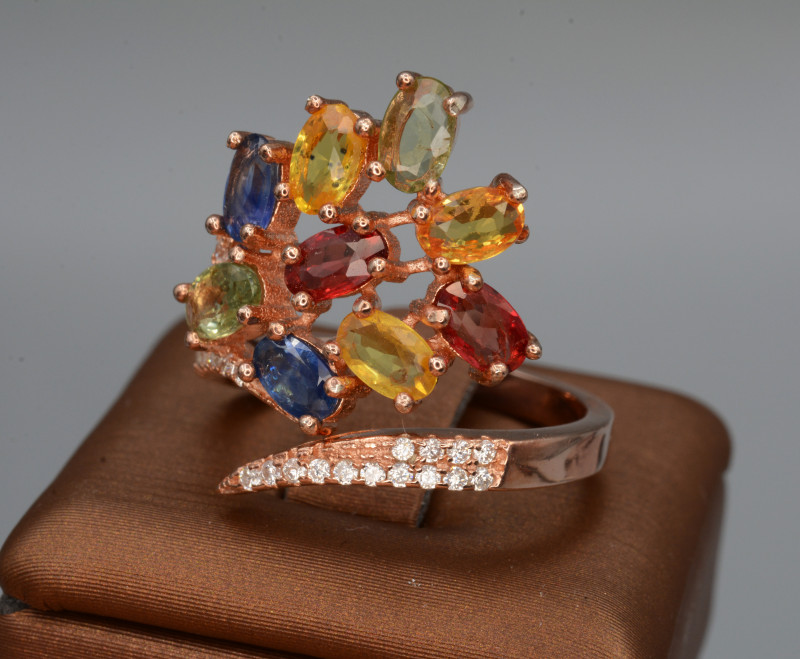 Multi-Stones Natural Tourmaline, Sapphire, CZ, Rose Gold plating Silver Rin