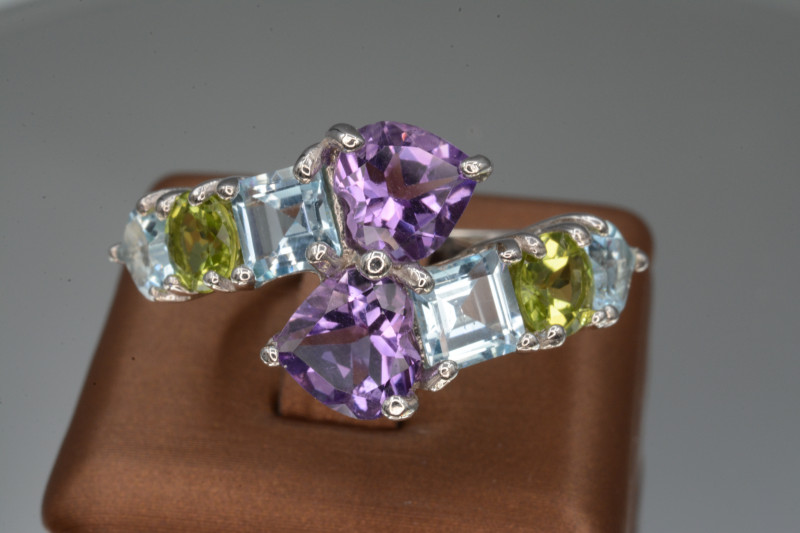 Natural Peridot, Amethyst, Blue Topaz 29.68 Cts,  Silver Ring Unique Design