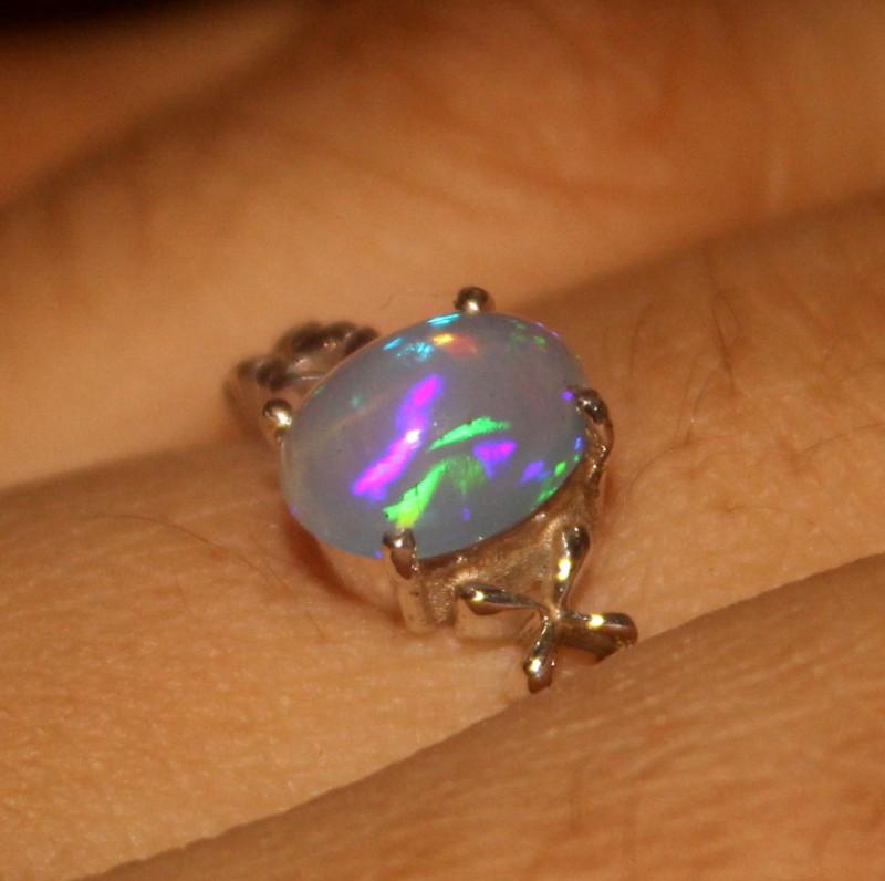 Ethiopian Fire Opal 925 Silver Ring Size US (8.5) 548