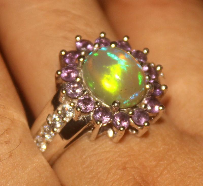 Ethiopian Fire Opal & Amethyst 925 Silver Ring Size US (9.9) 541