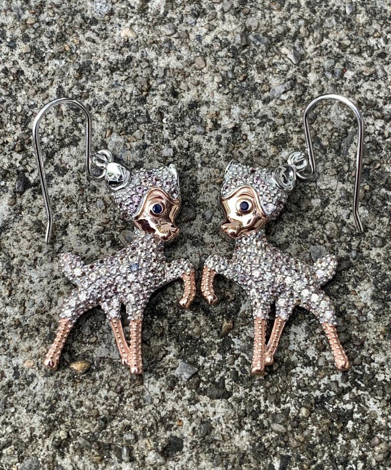 Deer Natural Sapphire Earrings.