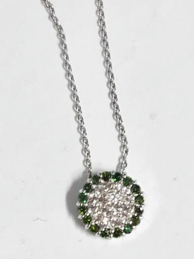 Natural Green Diamond And Topaz ~ Silver Necklace