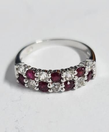 *NoReserve*Stylish Natural Ruby And Topaz Ring ~ Silver