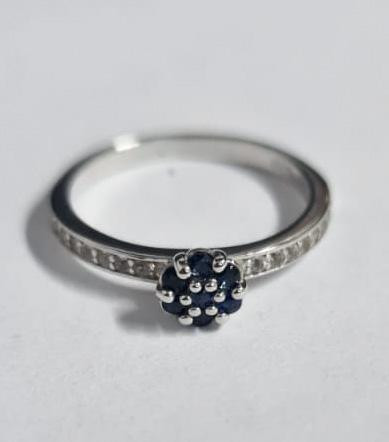 Stylish Natural Blue Sapphire 0.15 Cts And Topaz Ring ~ Silver