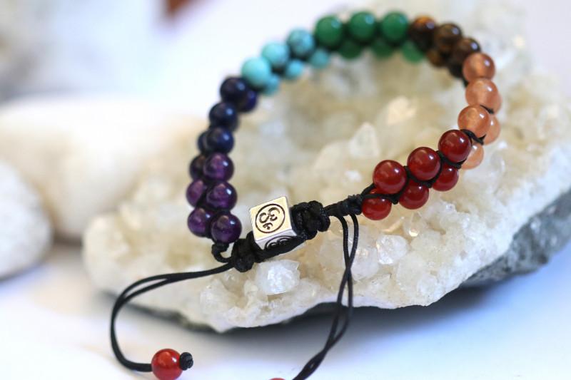 7 chakra Gemstones,double weave  Bracelet AHA  629