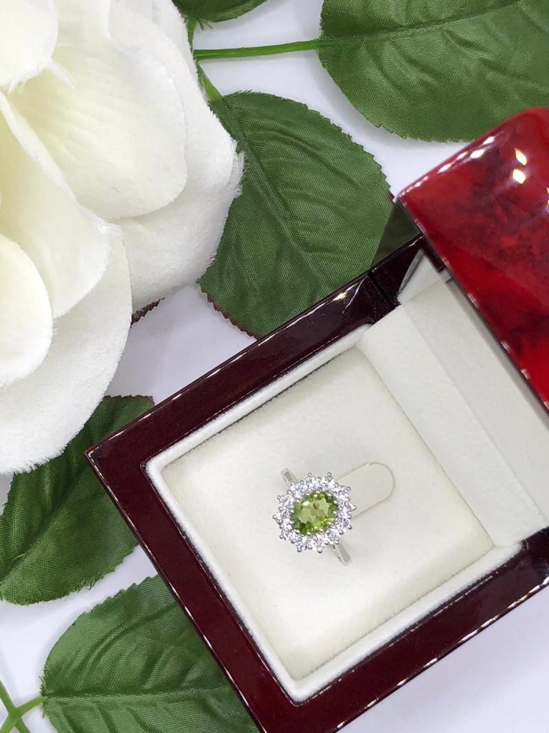 Stylish Natural Peridot And Topaz Ring ~ Silver