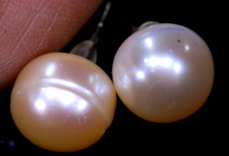 10.05 CTS -PEARL EARRINGS /SILVER    SJ-1276
