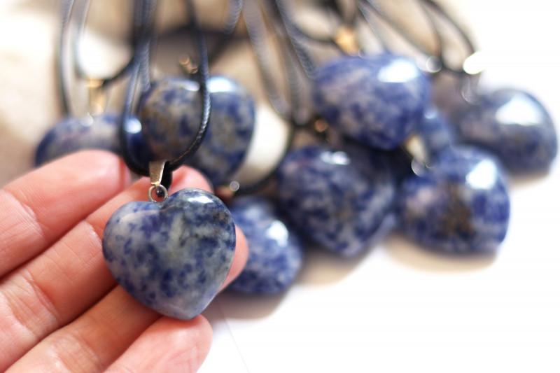 Wholesale 10 pcs Heart Shape Blue Sodalite Pendants AHA 816