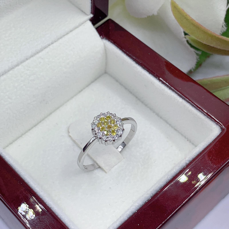 Stylish Natural Yellow Diamon And Topaz Ring ~ Silver