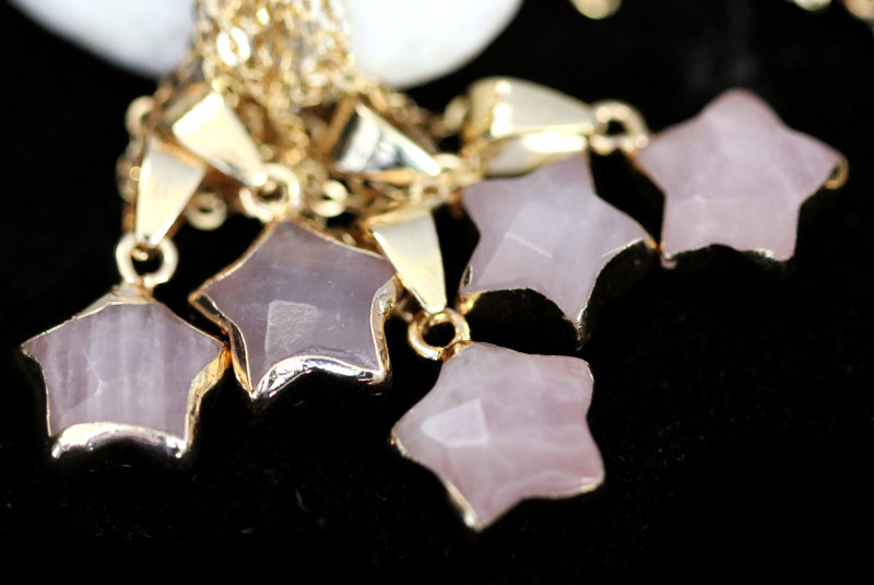 Wholesale 5 pcs Gold Plated Star Pendants Natural Rose Quartz AHA 937