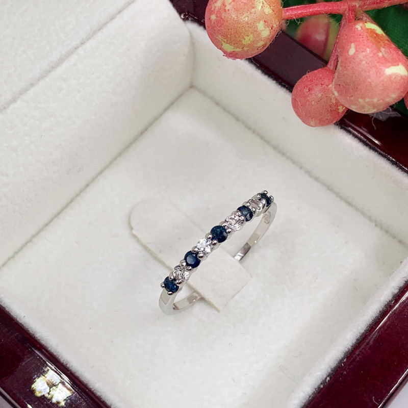Stylish Natural Blue Sapphire And Topaz Ring ~ Silver