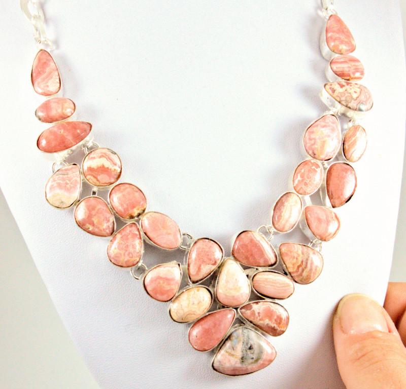 430.0 Tcw. Argentinean Rhodochrosite / Sterling Silver Necklace
