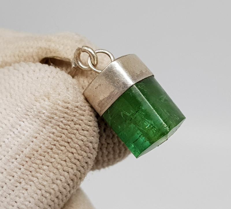 Natural Green Tourmaline 9.70 Carats 925 Silver Pendant