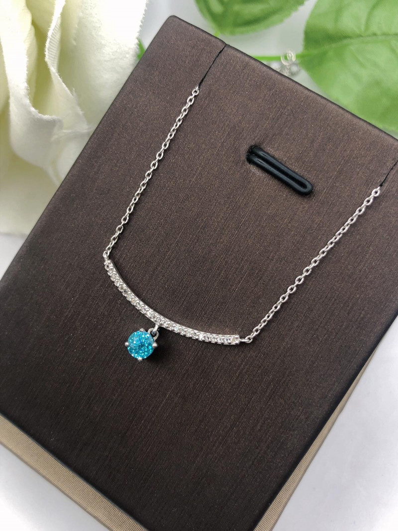Stylish Natural Blue Zircon And Topaz ~ Silver Necklace