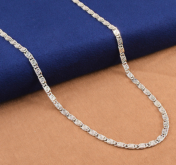 Snail Flat link  925 Sterling Silver Chain 16 inch